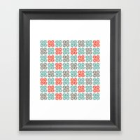 Block Print Geo Framed Art Print