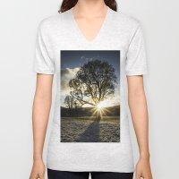 A Winters Sunset Unisex V-Neck