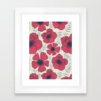Raspberry Flowers Framed Art Print