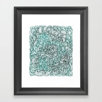 Squigg Block (Blue-Green) Framed Art Print