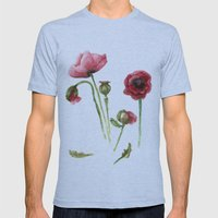 Red Poppies - Botanical Art - watercolor Mens Fitted Tee Athletic Blue SMALL