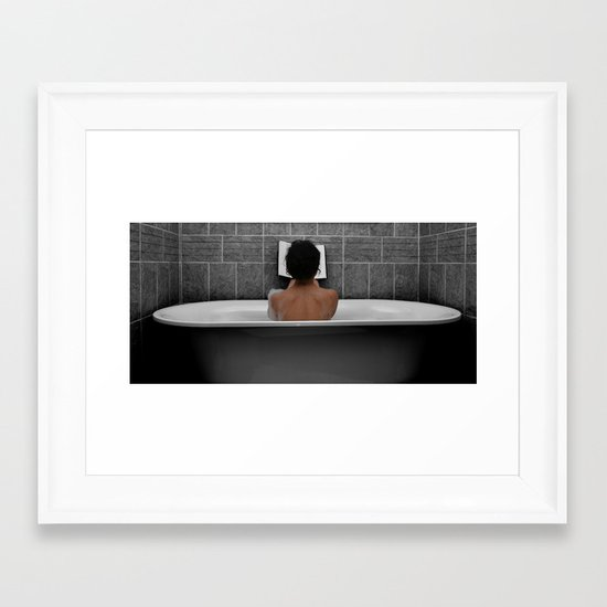 Reading in Bath Framed Art Print