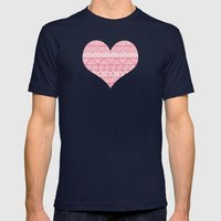 Patterned Hearts Pattern Mens Fitted Tee Navy SMALL