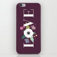 Floral Love - in Plum iPhone & iPod Skin