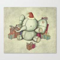 Happy Cute Elephant Canvas Print