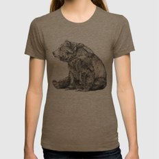 Bear // Graphite Womens Fitted Tee Tri-Coffee LARGE