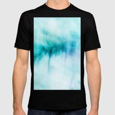 Abstract Waterfall SMALL Black Mens Fitted Tee