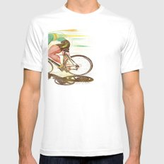 The Sprinter, Cycling Edition White Mens Fitted Tee SMALL