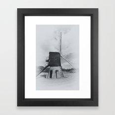 Post mill windmill mono Framed Art Print
