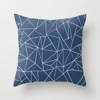Ab Dotted Lines Navy Throw Pillow