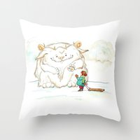 A Friendly Snow Monster Throw Pillow