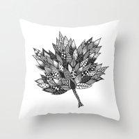 Zentangle Leaf Throw Pillow