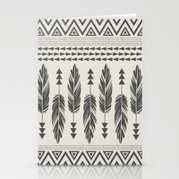 Tribal Feathers-Black & Cream Stationery Cards