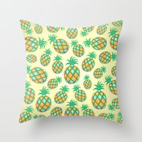 Pineapple Pastel Colors Pattern Throw Pillow