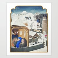 Winter Pigs Art Print