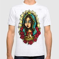 Lady Of Guadalupe (Virgen de Guadalupe) PINK VERSION Mens Fitted Tee Ash Grey SMALL