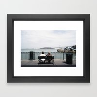 Two Women Sitting on a Bench Framed Art Print