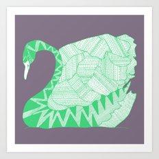 green swan square Art Print