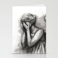 Weeping Angel Watercolor Doctor Who Art Stationery Cards
