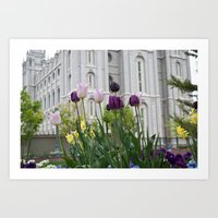 Temple Flowers 2 Art Print