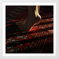 Feet and Red Rug Art Print