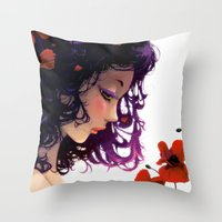 Les Fleurs Rouges... Throw Pillow