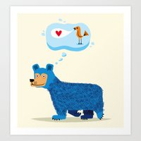 Bear Thinks Of Bird Art Print