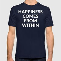 happiness comes from within Mens Fitted Tee Navy SMALL