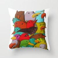 The Birds Of Monkland Village Throw Pillow