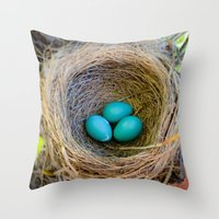 Three Little Robin's Egg… Throw Pillow