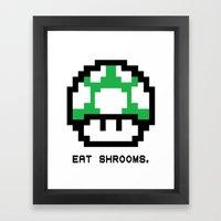 EAT SHROOMS Framed Art Print