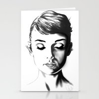 audrey hepburn Stationery Cards featuring Audrey Hepburn by Geryes