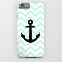 Pastel Mint Tiffany Turquoise, Chevron Anchor iPhone 6 Slim Case
