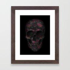 Skull Black Flowers Framed Art Print