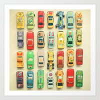 orange Art Prints featuring Car Park by Cassia Beck