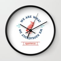 Aristotle - We are what we repeatedly do. Greek Wall Clock
