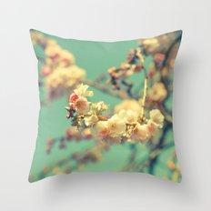 Pink blue blossom Throw Pillow