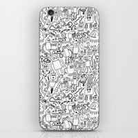 Infinity Robots Black & White iPhone & iPod Skin