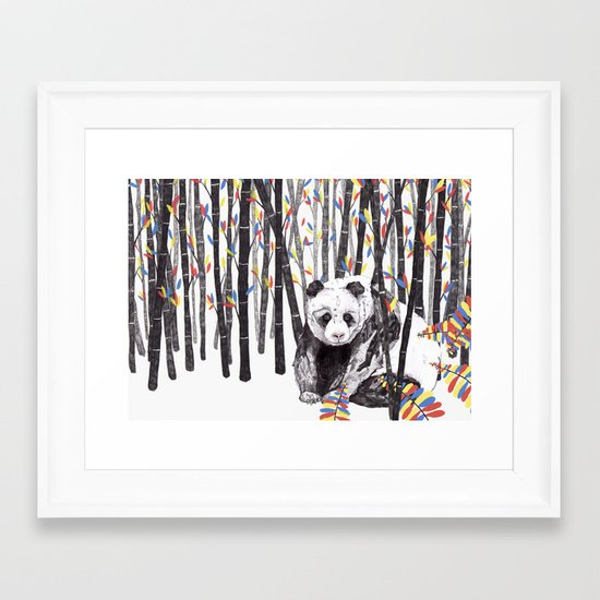 Panda Bear // Endangered Animals Framed Art Print
