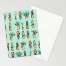 cactus and pineapples blue  Stationery Cards