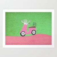Enjoy The Ride Vespa Art Print