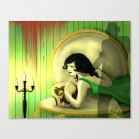 In The Green Boudoir Canvas Print