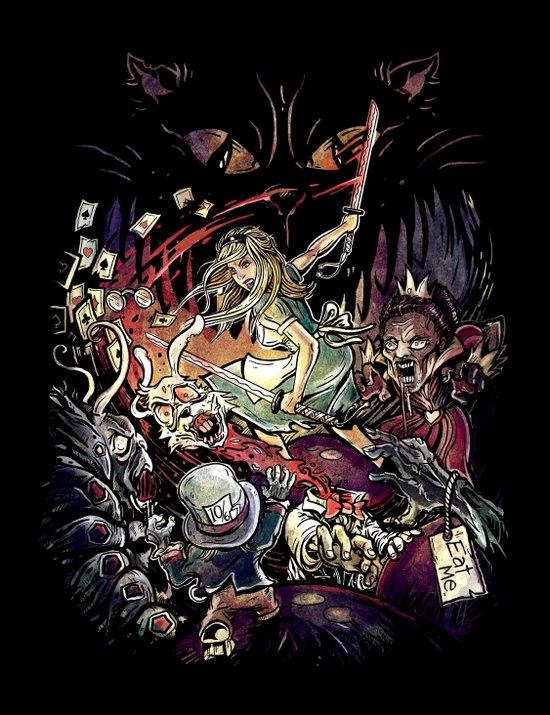Zombies in Wonderland Art Print