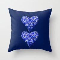 sparkling hearts blues Throw Pillow