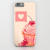 iPhone & iPod Case featuring Cherry Heart Cupcake by Chelsea Noel Dostert