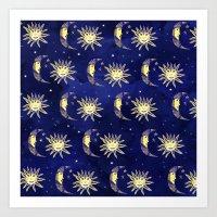 Cosmos sun moon and stars pattern blue watercolor  Art Print
