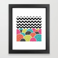 Tropical Flowers Chevron Framed Art Print