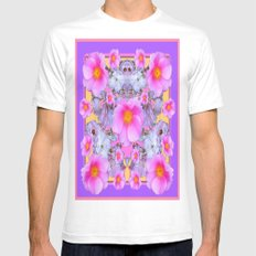 Pink Rose Garden Lilac P… Mens Fitted Tee White SMALL
