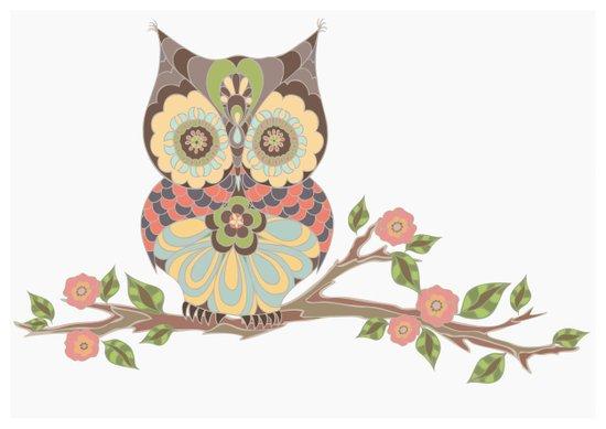 OWL -  kids wall art - owl theme nursery - woodland Art Print