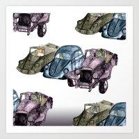 Animals in cars Art Print